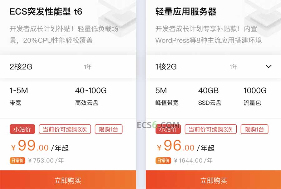 阿里云ECS突发性能t6服务器99元优惠价