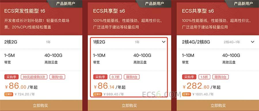 阿里云服务器ECS共享型s6实例上云采购季优惠活动